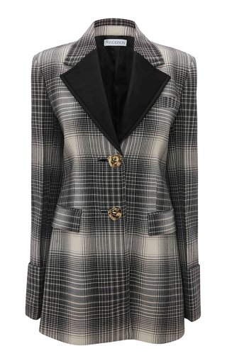 Button-Detailed Plaid Wool Blazer