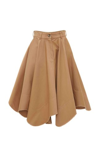 Asymmetric Cotton Twill Midi Skirt