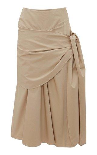 Draped Cotton Wrap-Effect Midi Skirt