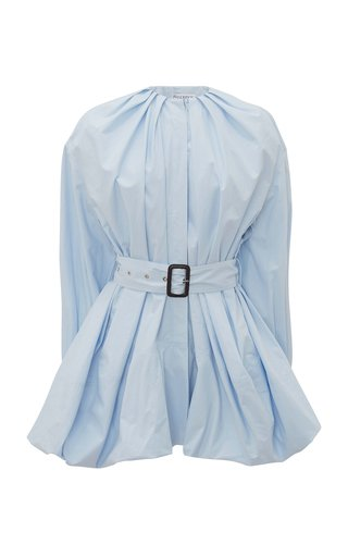 Belted Oversized Pleated Cotton Poplin Shirt