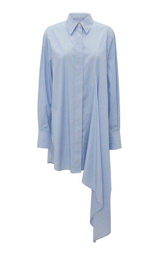 Draped Oversized Striped Cotton Shirt