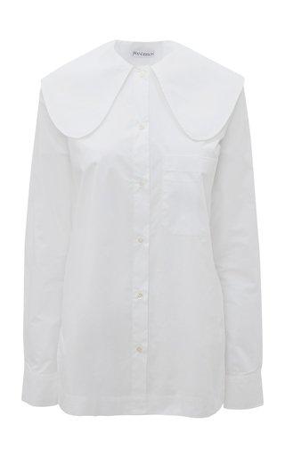 Oversized-Collar Cotton Poplin Shirt