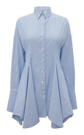 Draped Striped Cotton Poplin Shirt