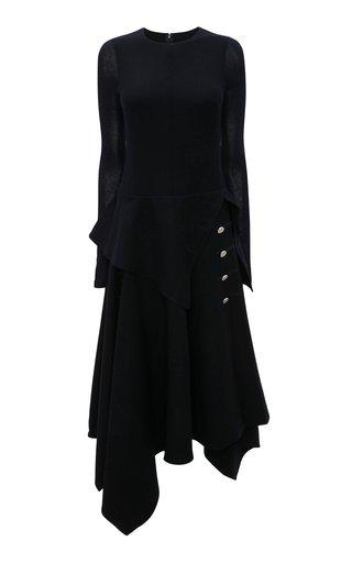 Button-Detailed Wool Midi Dress