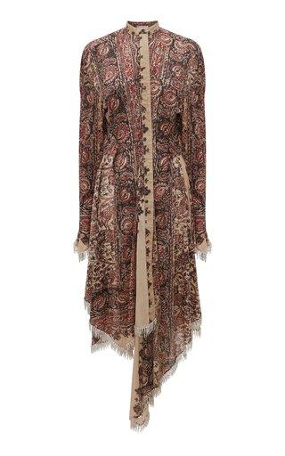 Crystal-Fringed Printed Crepe Midi Dress