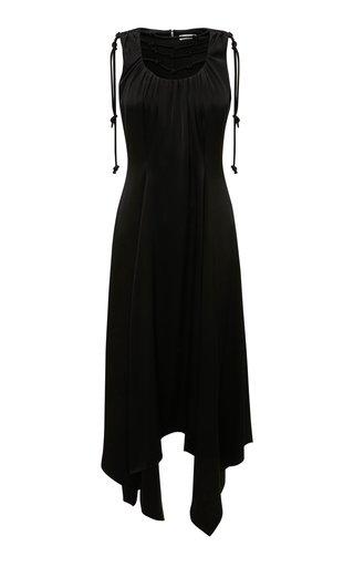 Knot-Detailed Crepe De Chine Midi Dress