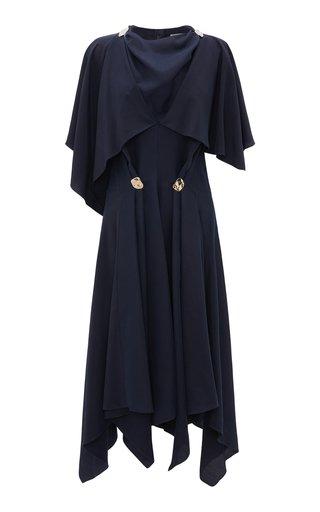 Button-Detailed Crepe Midi Cape Dress