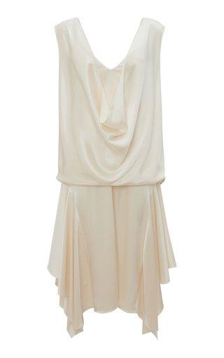 Draped Crepe De Chine Drop Waist Midi Dress