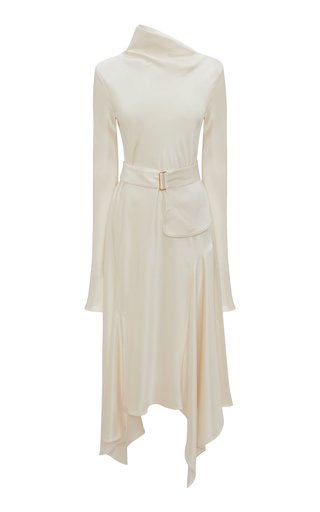 Belted Crepe De Chine Cowl-Neck Midi Dress