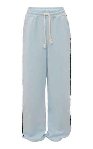 Embroidered Cotton Wide-Leg Track Pants