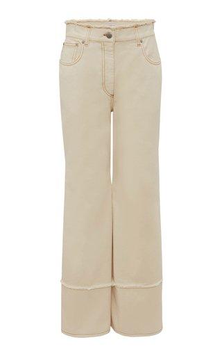 Frayed Rigid High-Rise Straight-Leg Jeans