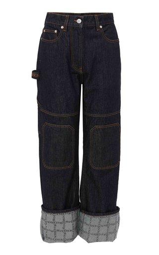 Logo-Print Rigid High-Rise Straight-Leg Carpenter Jeans