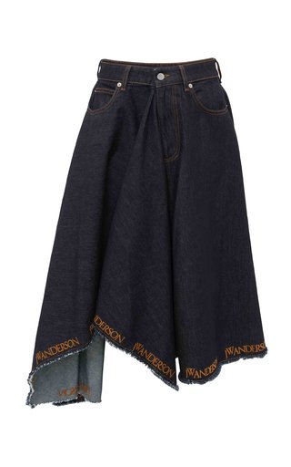 Asymmetric Logo-Embroidered Denim Midi Skirt