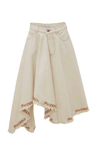 Logo-Embroidered Denim Asymmetric Midi Skirt