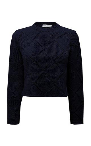 Check-Woven Wool-Blend Sweater