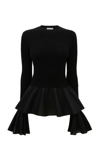 Cotton-Trimmed Ribbed Wool Top