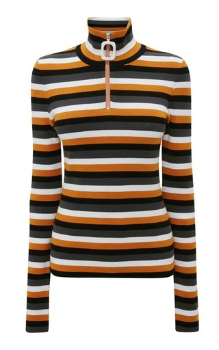 Striped Jersey Half-Zip Top