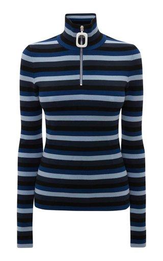 Striped Jersey Half-Zip Top