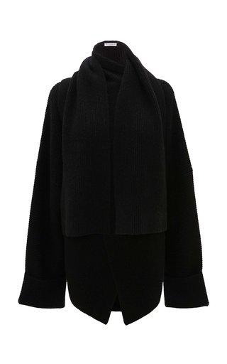 Draped Alpaca-Yak Scarf-Neck Wrap Sweater