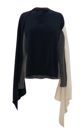 Draped Colorblock Cashmere-Wool Sweater