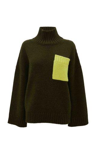 Oversized Pocket-Detailed Knit Turtleneck Sweater