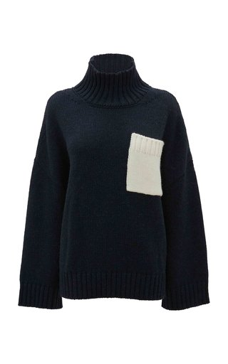 Oversized Pocket-Detailed Knit Turtleneck Sweater