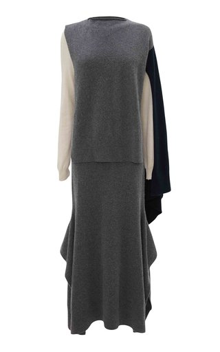 Draped Colorblock Wool-Cashmere Maxi Dress
