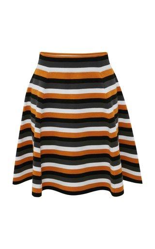 Striped Jersey Full Mini Skirt