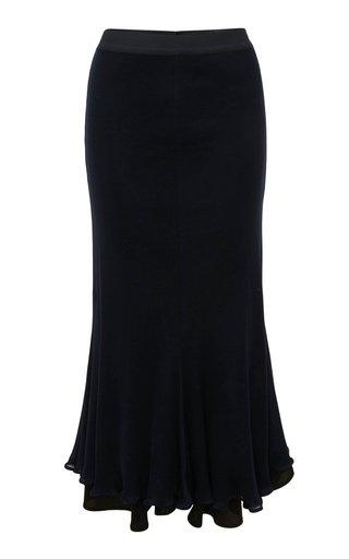 Layered Cotton-Linen Midi Skirt