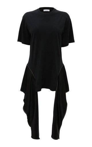Crepe-Detailed Cotton T-Shirt