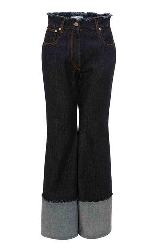 Frayed Rigid High-Rise Flared-Leg Jeans