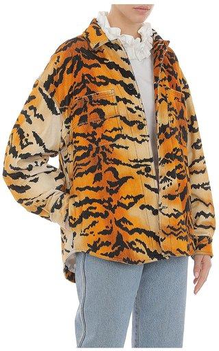 Cotton Tiger Print Shirt Jacket