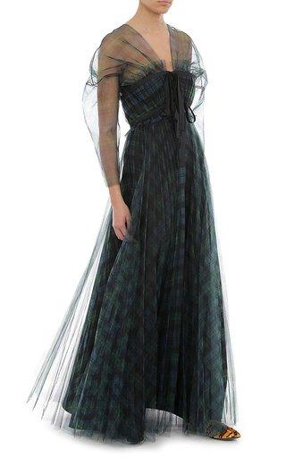 Printed Tulle Tartan Dress