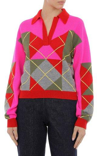 Cashmere Blend Argyle Sweater