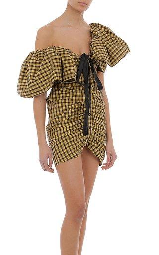 Stretch Poplin Tartan Mini Dress