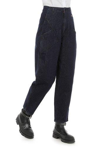 Dark-Washed Straight-Leg Denim Pants