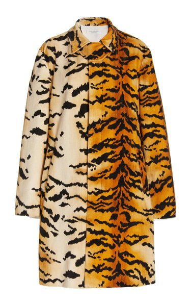 Tiger-Print Cotton-Velvet Trench Coat