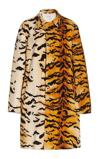 Cotton Velvet Tiger-Print Trench Coat
