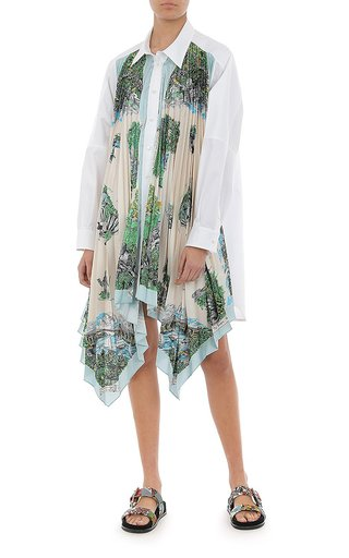 Printed Twill Poplin Shirt Dress