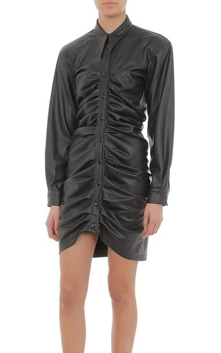 Stretch Eco-Leather Ruched Mini Dress