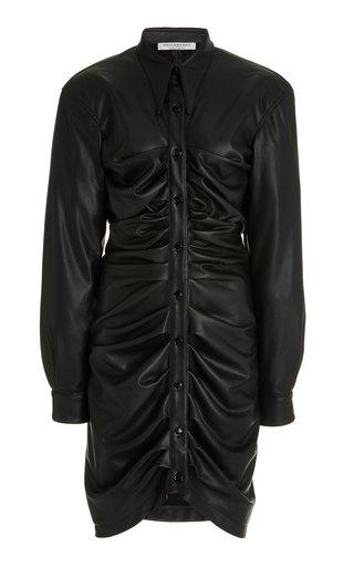 Ruched Eco-Leather Mini Shirt Dress