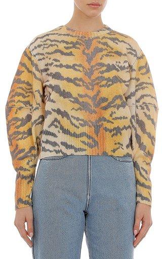 Extrafine Merino Wool Tiger Print Sweater