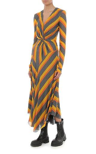 Striped Jersey Bias-Cut Midi Dress