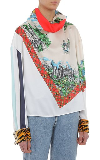 Printed Contrast Cuff Twill Blouse