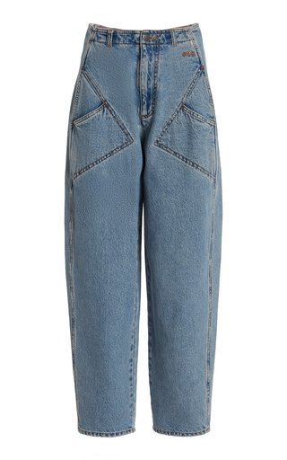 Rigid High-Rise Tapered-Leg Jeans