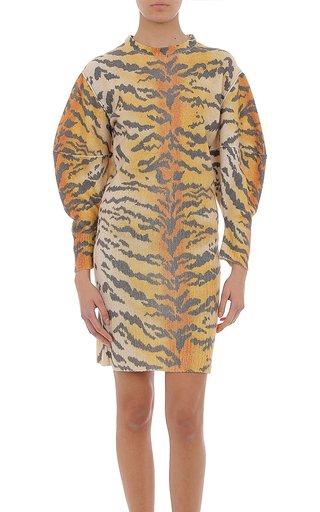 Extrafine Merino Wool Tiger Print Sweater Dress