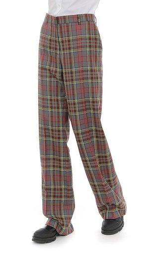 Tartan Wool Wide-Leg Pants