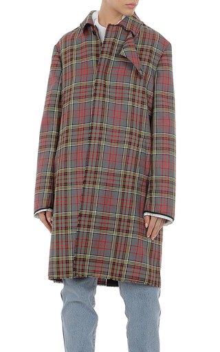 Tartan Wool Trench Coat