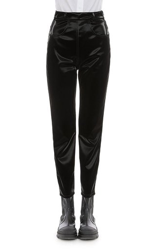 Eco-Leather Straight-Leg Pants