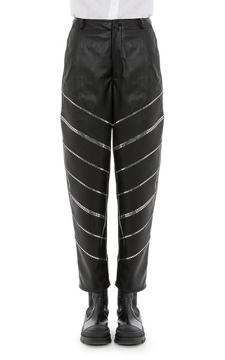 Stretch Eco-Leather Studded Pants